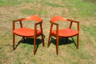 Vintage Mid Century Danish Modern Pair Orange Arm Lounge Chairs Gunlocke photo
