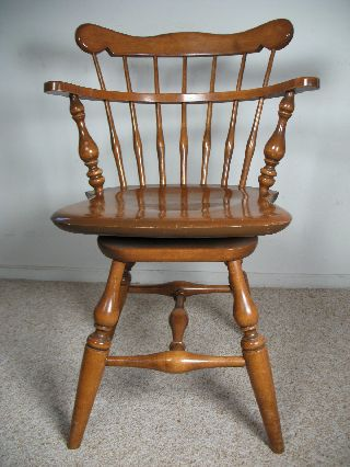Vintage Ethan Allen Heirloom Maple Swivel Chair photo