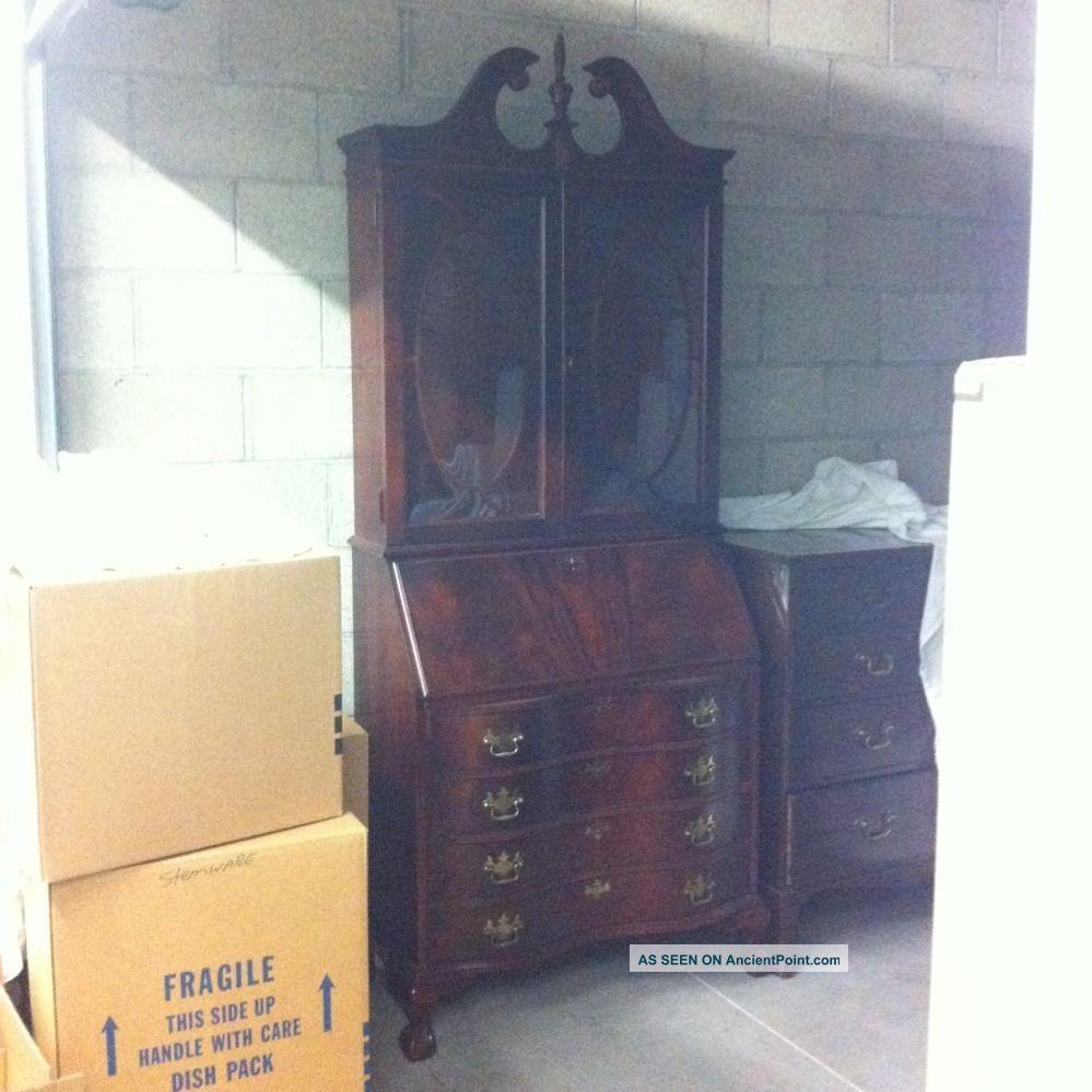 Chippendale Mahogany Secretary Desk Jasper Cabinet Company Price Reduced  Antique