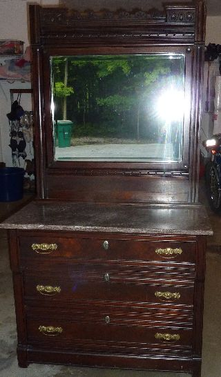 Antique Marble Top Dresser With Carved Mirror photo