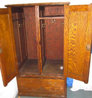 Antique Oak School Locker photo