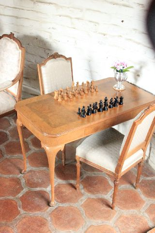 Antique Game / Chess Table Queen Anne Circa 1900 With Chess Pieces photo
