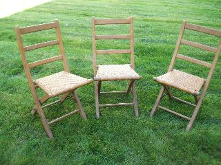 Set Of Three Vintage Folding Wooden Chairs - Caned Seats - Early 1900 ' S photo