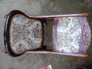 Rare Antique Furniture Ornate Folding Wood Rocker Sewing Tapestry Rocking Chair photo
