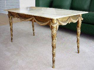 Giovanni Garibaldi - Coffee Table Onyx Top/carved Wood Base - 1940 ' S photo