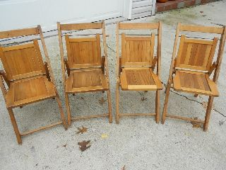 Vintage Childs Wood Folding Oak Chairs Set Of 4 photo