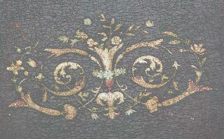 Faux Grain Painted Lamp Table Pottery Porcelain Tile / Top Floral Design 1890 photo