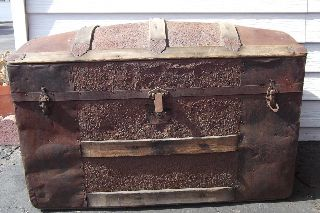 Antique Victorian Camelback Dome Top Trunk - Metalwork - To Restore photo