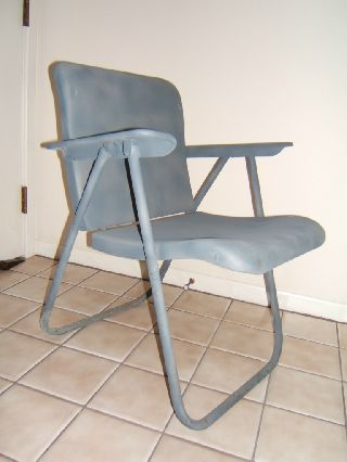 Vintage Russel Wright Metal Folding Chair Made For Samsonite - C.  1950 photo