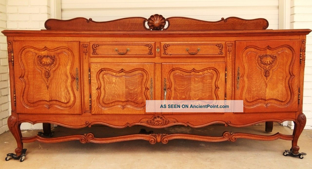 1920s Antique Belgium Oak Server European Cabinet Flemish Storage French Country 1900-1950 photo