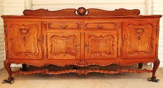 1920s Antique Belgium Oak Server European Cabinet Flemish Storage French Country photo