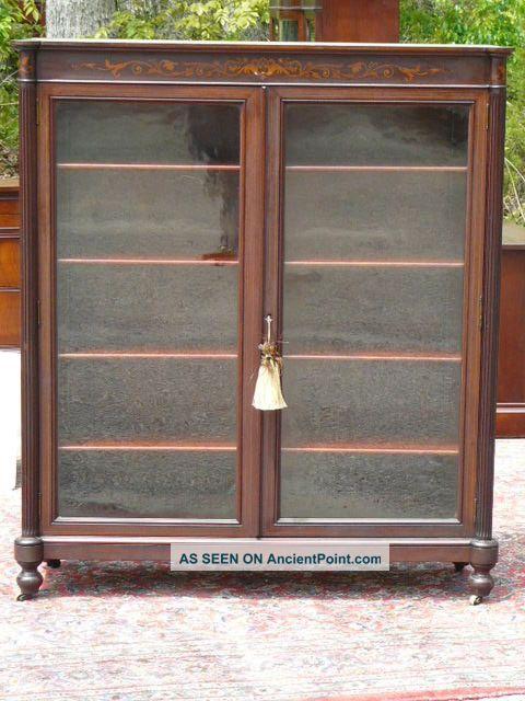 Antique 19c Mahogany Bookcase Display Cabinet Attb Horner Furniture Co 1800-1899 photo
