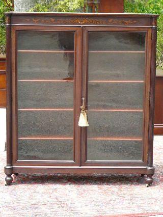 Antique 19c Mahogany Bookcase Display Cabinet Attb Horner Furniture Co photo