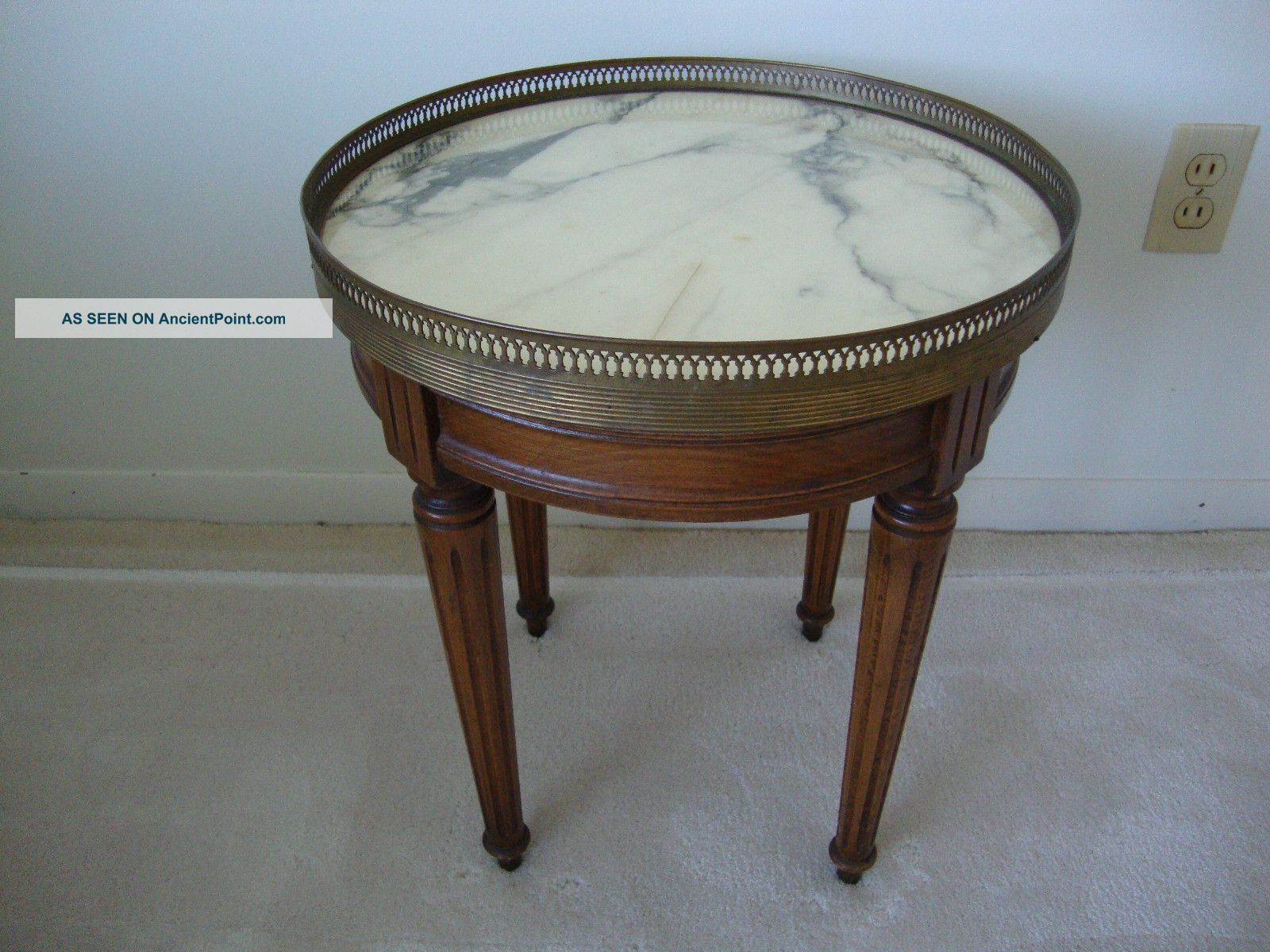 Vintage Marble Top Occasional Table 1900-1950 photo