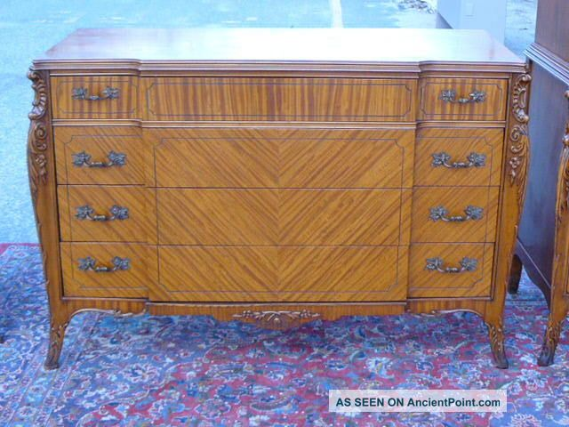 Antique Satinwood French Louis Xv Xvi Bedroom Dresser Low Chest Of Drawers 1900-1950 photo