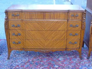 Antique Satinwood French Louis Xv Xvi Bedroom Dresser Low Chest Of Drawers photo