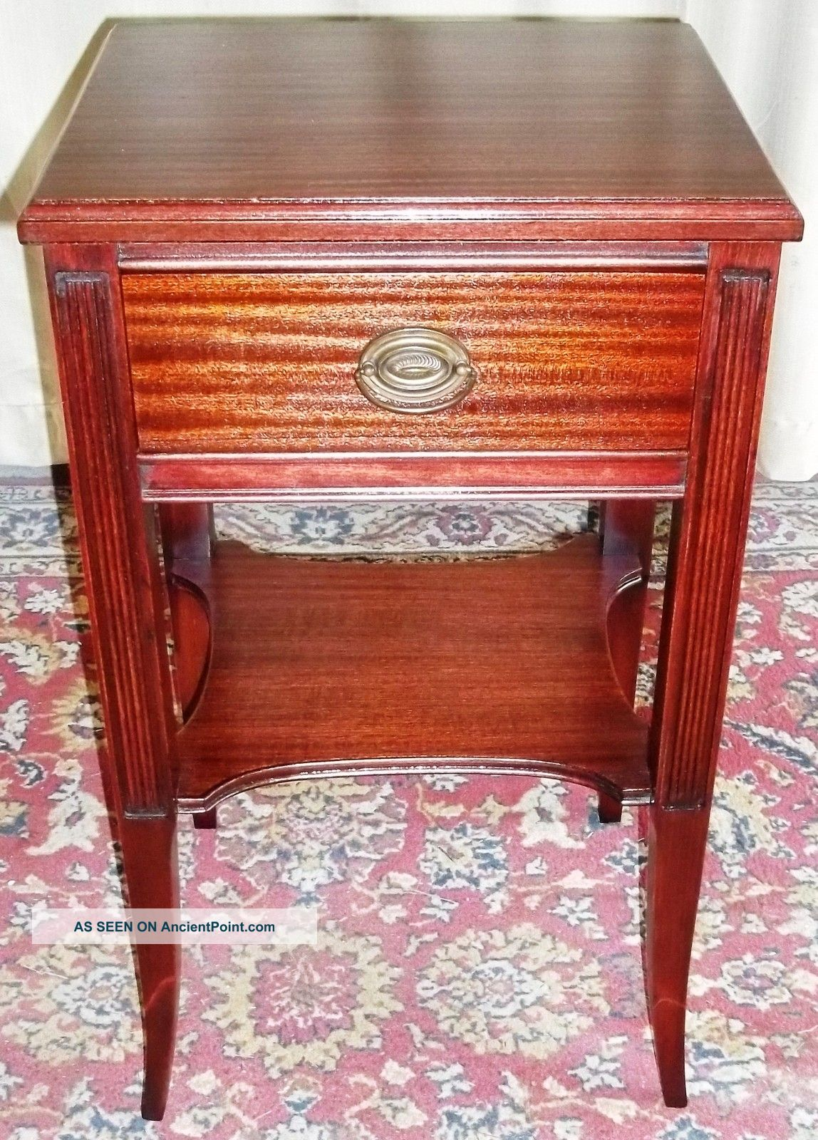 Antique Mahogany Square Two Tier Table With Drawer 1900-1950 photo