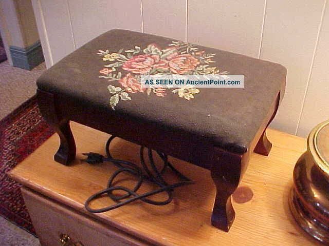 Antique Electric Foot Stool Needlepoint Roses Heat Pad Works Unusual 1900-1950 photo