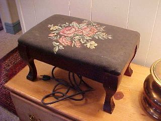 Antique Electric Foot Stool Needlepoint Roses Heat Pad Works Unusual photo