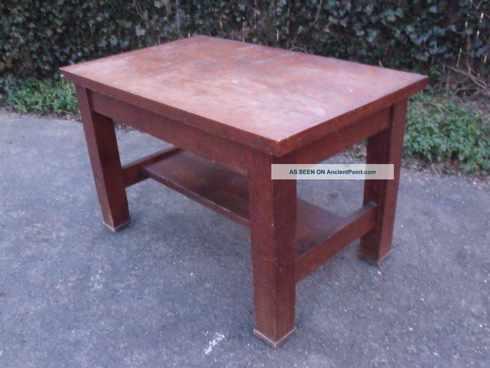 Antique Quartersawn Craftsman / Mission Style Oak Writing Desk 1900-1950 photo