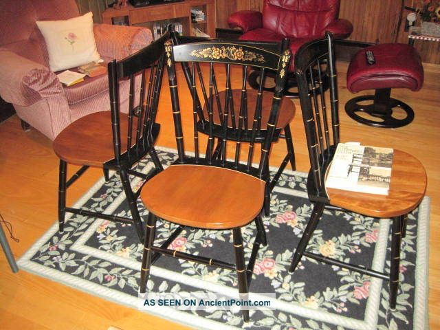 Set Of Four Hitchcock Chairs,  1952??,  Mint Condition Post-1950 photo