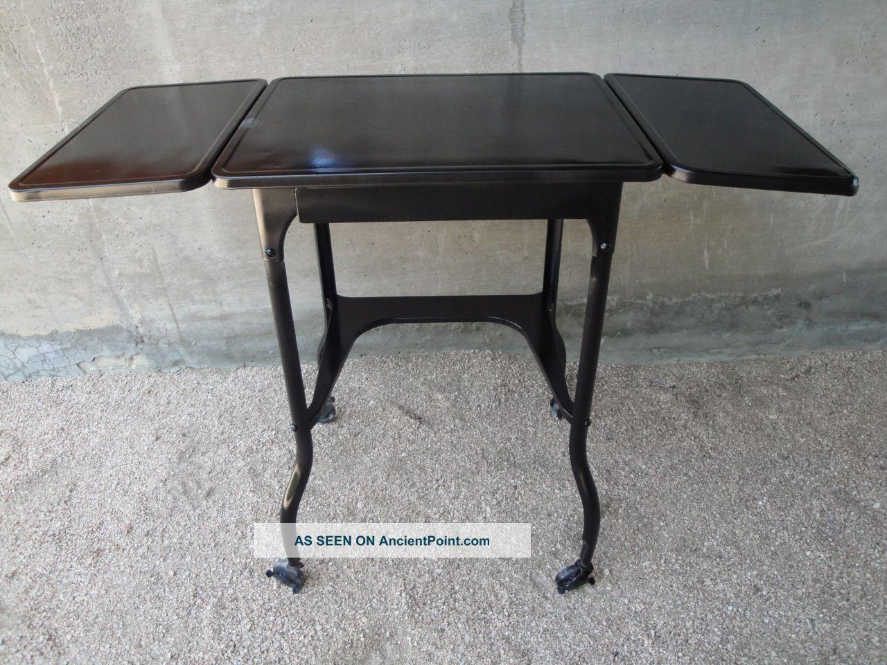 Vintage Mid Century Black Metal Industrial Typewriter Table 1900-1950 photo