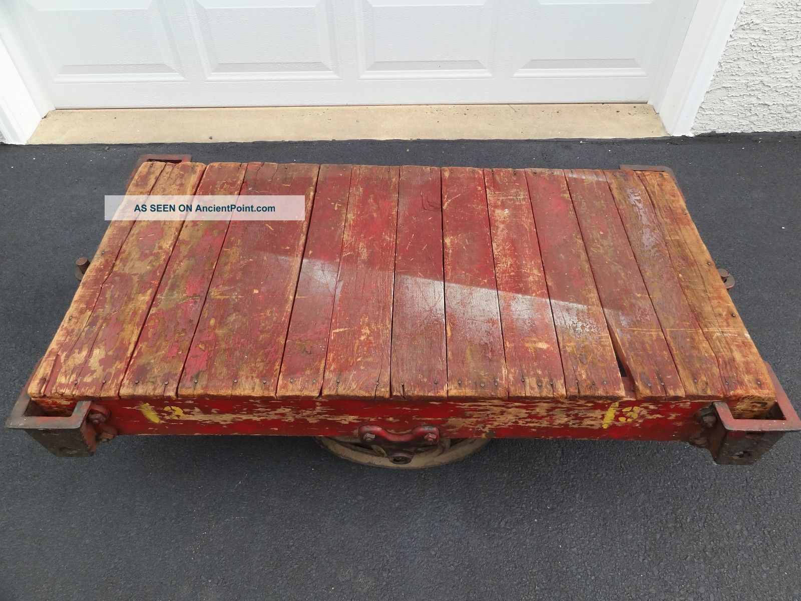 Antique Vintage Industrial Factory Railroad Cart Coffee Table Furniture 1900-1950 photo