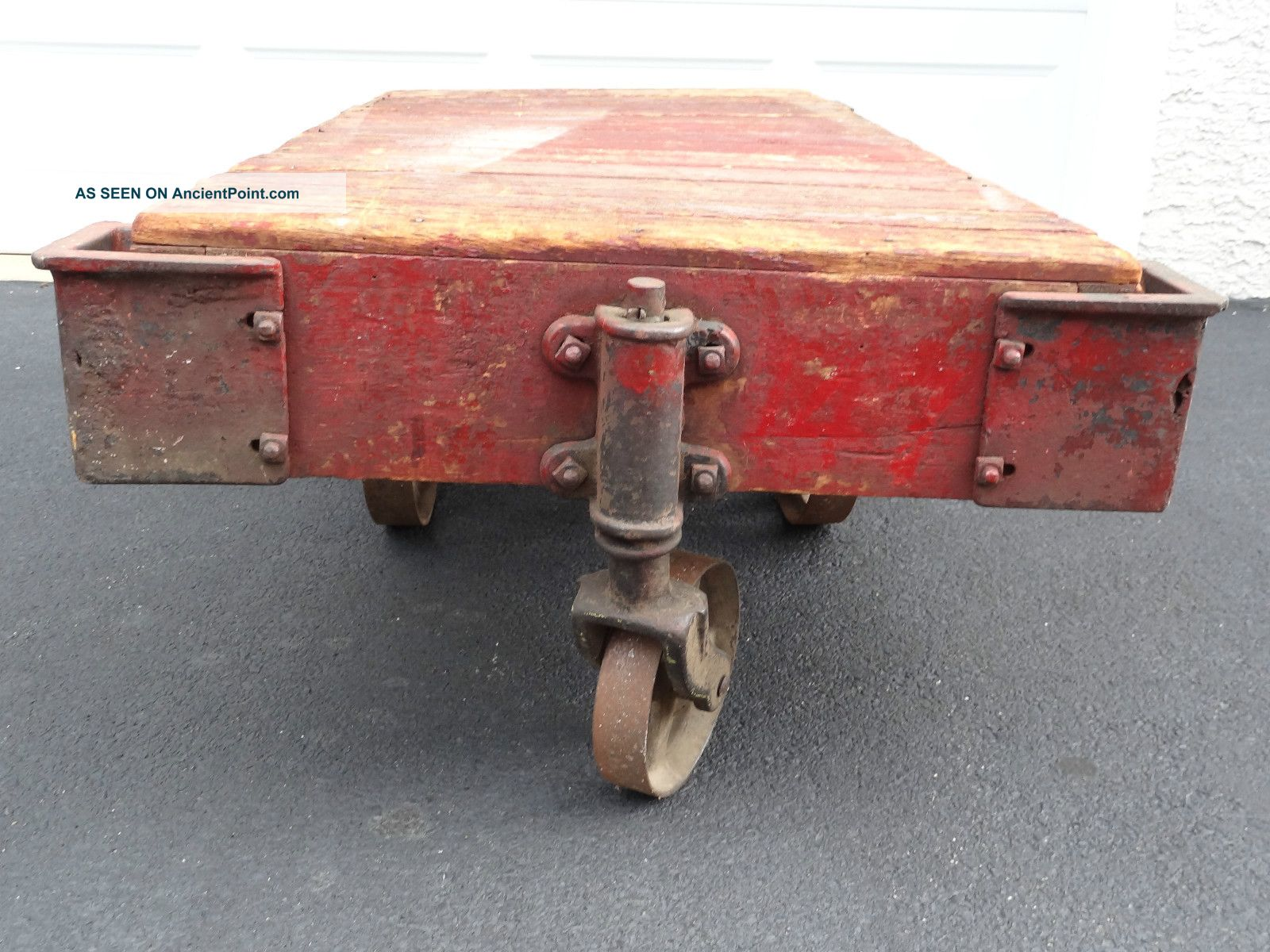 Antique Vintage Industrial Factory Railroad Cart Coffee Table