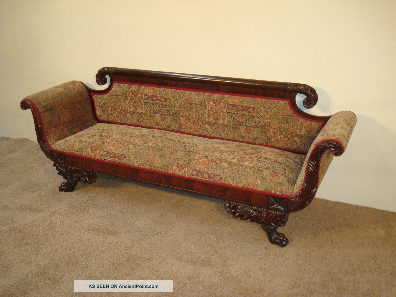 Antique Empire Eagle Wing Carved Mahogany Sofa Circa.  1810 - 20 New York 1800-1899 photo