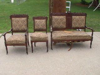 Vintage 3 Piece Love Seat,  Chair & Captain Chair Uship.  Com For photo