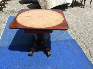 Rare Antique 19c Rosewood Empire Regency Tooled Leather Top Game Table photo