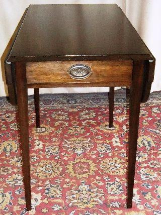 Vintage Mahogany Large Side/ End Drop Leaf Pembroke Table With Drawer photo