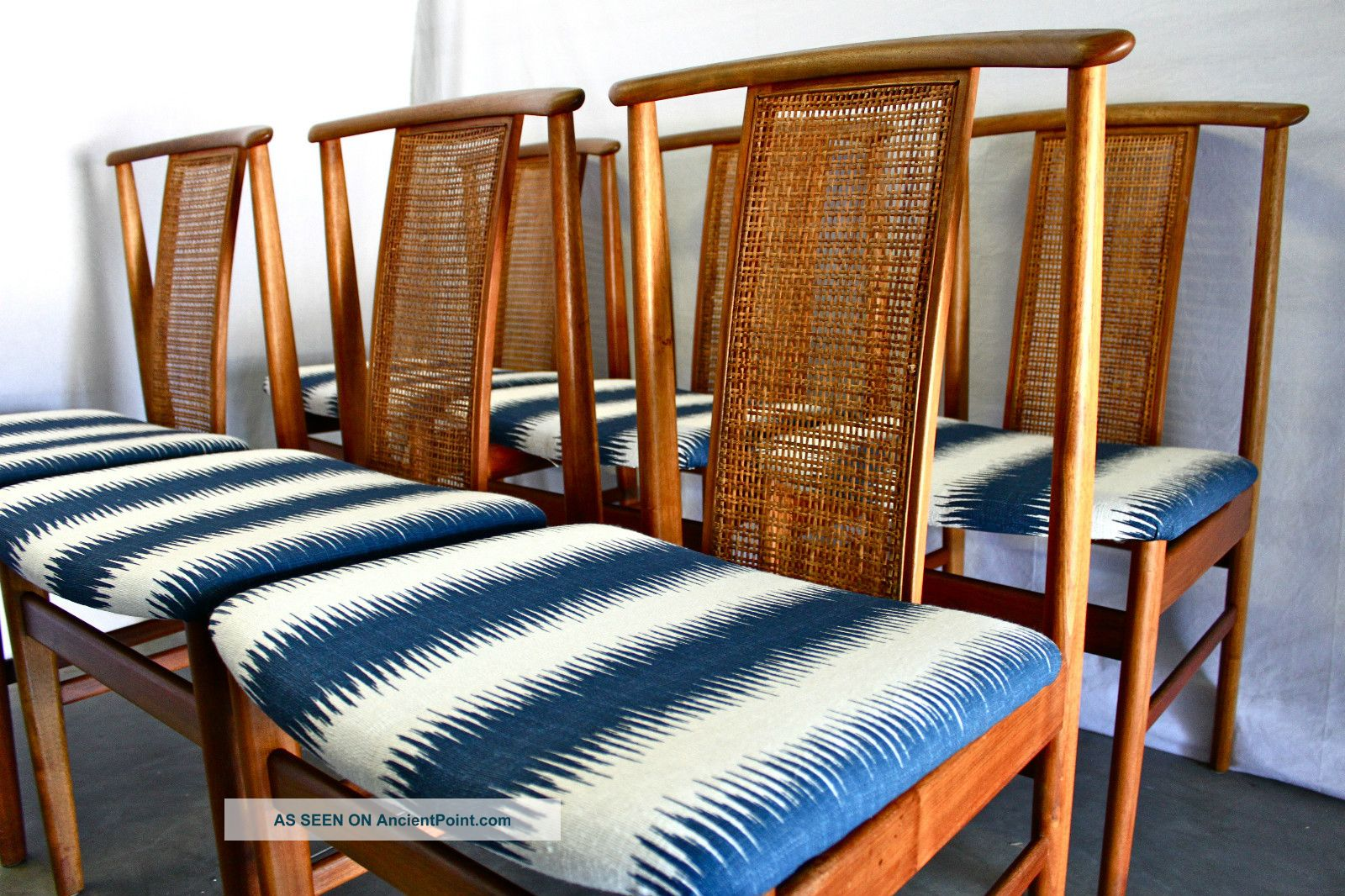 Set 6 Danish Mid Century Walnut Dining Chairs Eames Modern Teak Moller Koefoeds 1900-1950 photo