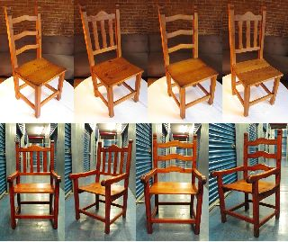 Dining Room Chairs 6 Heart Pine Farmhouse Country photo