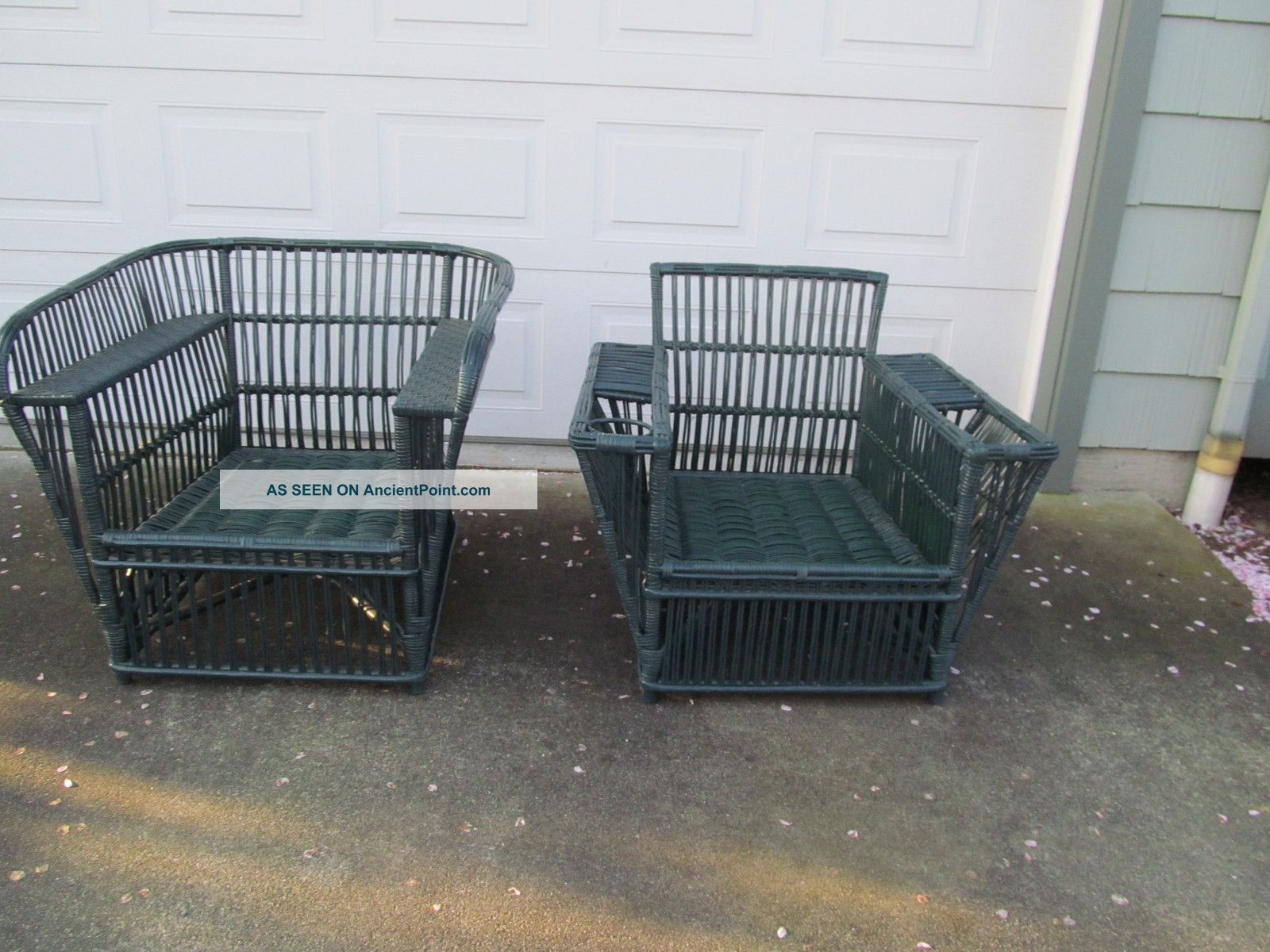 Antique American - Made Art Deco Wicker Man - Size Armchairs,  Porch,  Patio,  Sunroom 1900-1950 photo