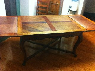Antique Wooden Farmhouse Dining Room Table photo