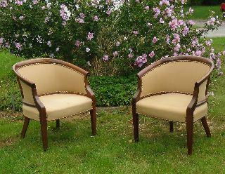 Vintage Hickory Chair Company North Carolina Georgian Tub Back Chairs (2) photo