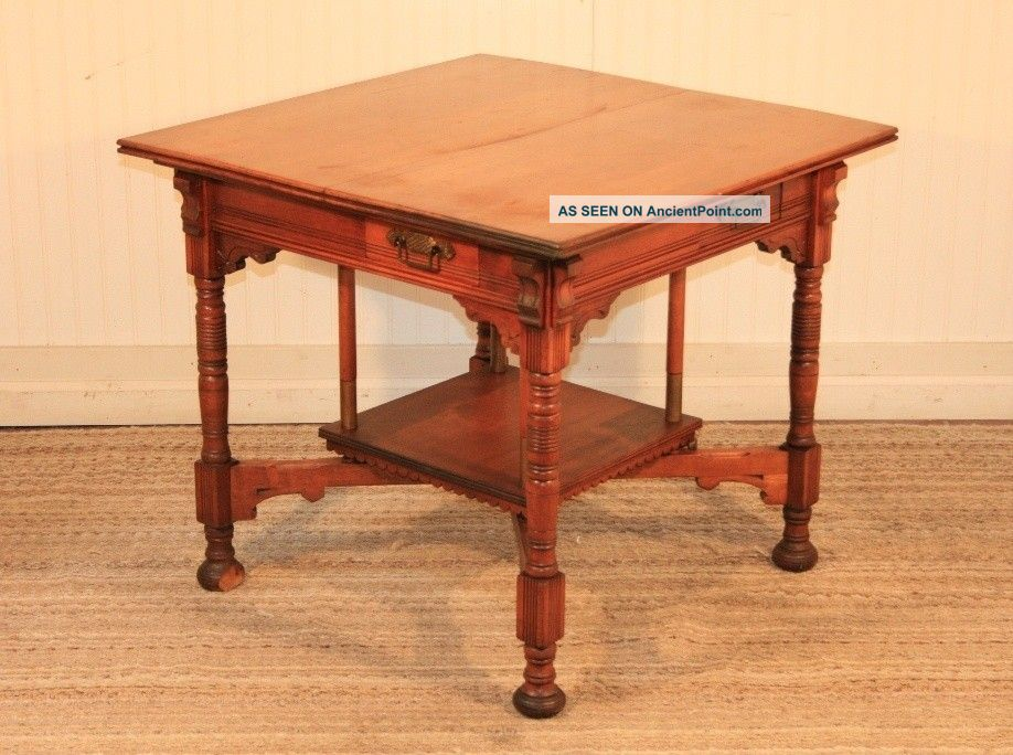 Antique Victorian Eastlake Carved Walnut 4 Drawer Center Card Game Table Dining 1800-1899 photo