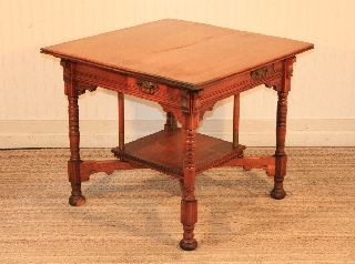 Antique Victorian Eastlake Carved Walnut 4 Drawer Center Card Game Table Dining photo