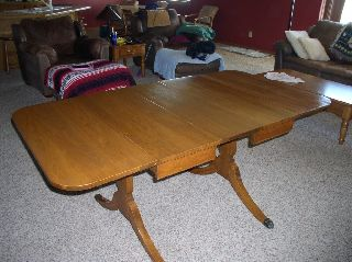 Duncan Phyfe Drop Leaf Table & Chairs Maple photo
