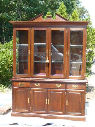 Vintage Chippendale Style Dark Cherry 4 Door China Cabinet Breakfront photo