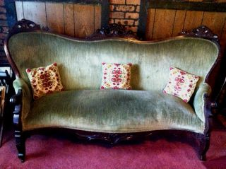 Victorian Era Hand - Carved Mahogany Sofa / Couch / Love Seat - Mid - 1850s photo