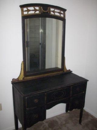 Vintage Distressed Black Painted Vanity - Ornate Antique Mirror Hollywood Regency photo