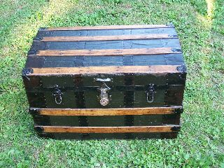 Beautifully Restored Antique Victorian Flat Top Steamer Trunk / Chest Ca.  1890 photo