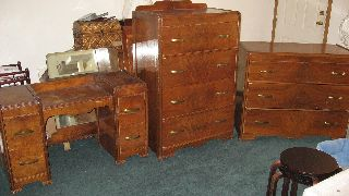 Vintage Bedroom Set,  3 Piece,  Vanity,  Dressers,  Mirrors,  Dove Tail,  Caster Wheel photo
