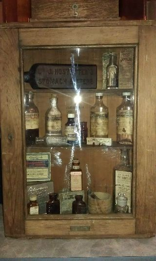 Antique Primative Bristol Medicine Cabinet Display Case Contents Not Included photo