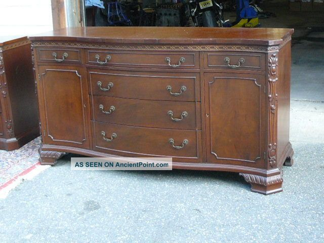 Antique 1950s Nc Mahogany Fancy Chippendale Sideboard Buffet Tv Console