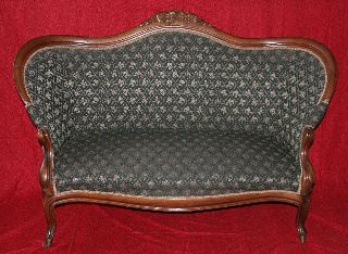 Antique Victorian Carved Walnut Upholstered Settee Very Cute Good Condition Nr photo