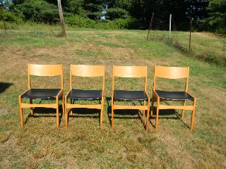 Mid Century Danish Modern Set Of 4 Frem Rojle Teak Dining Chair Set Eames Era photo
