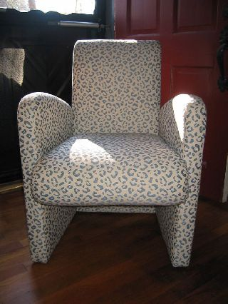 Jay Spectre Century Furniture Leopard Print Small Armchair 1986 Blue And White photo